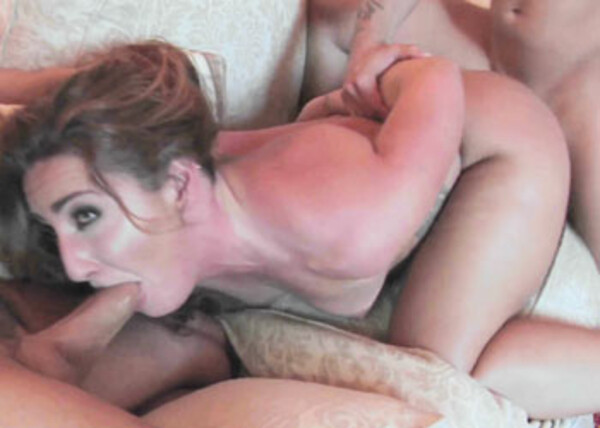 Slutty redhead Savannah takes on two guys