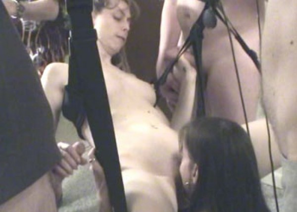 Lexi sucks cock in the sex swing